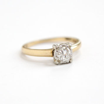 Vintage 14K Yellow Gold & Platinum 1/4 Carat Solitaire Diamond Ring - Size 4 3/4 1950s Mid Century Hallmarked Jabel Fine Engagement Jewelry