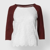 SCALLOP FLOWER LACE TOP
