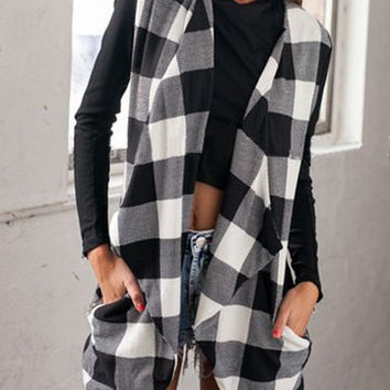 Checked Print Knitted Turn-Down Collar Waistcoat