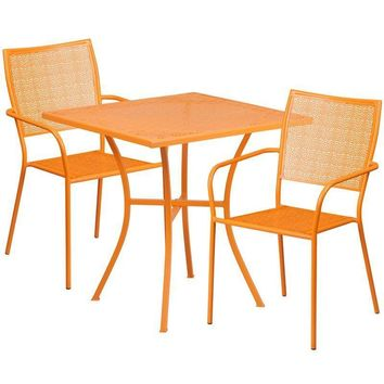 28'' Square Indoor-Outdoor Steel Patio Table Set with 2 Square Back Chairs