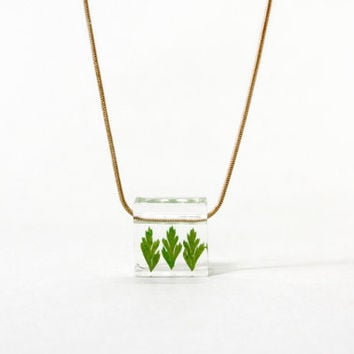 Real Flower Jewellry, Necklace, Resin, Ice Box, Freeze Flower, Flower Necklace, Green Leaves, Christmas,