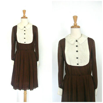 60s Mod Dress / preppy dress / tuxedo dress / pleated dress / womens brown dress / linen / fall fashion / Howard Wolf / M