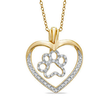ASPCA® Tender Voices™ 1/4 CT. T.W. Diamond Heart with Paw Pendant in 10K Gold - View All Necklaces - Zales