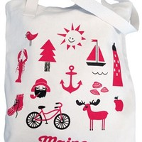 Iconic Maine Tote Bag :: Pinecone+Chickadee