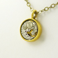 Holiday15 Industrial Industrial SteamPunk Necklace with vintage Waltham Watch Movement set in Antique Gold Finish Pendant
