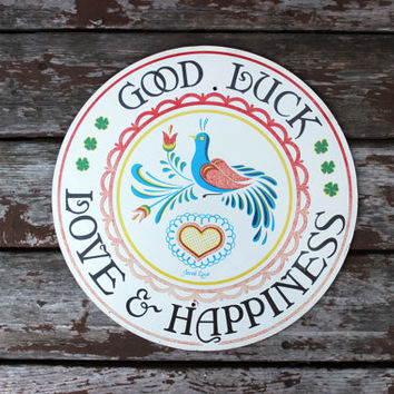 Large Vintage Hex Sign - by Jacob Zook - Pennsylvania Dutch Amish Folk Art - Americana - Good Luck, Love & Happiness