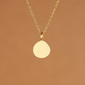 Tiny gold disc necklace - gold dot - gold disc necklace - gold circle - simple - everyday - a matte gold disc on a 14k gold vermeil chain
