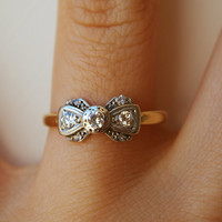 1920's Platinum, Diamond & 18k Gold Ribbon Bow Ring Size US 6