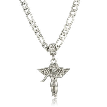 Silvertone Iced Out Angel Micro Pendant with a 24 Inch Figaro Necklace