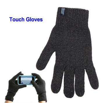 Touch Screen Gloves-Full Hand Touch Capacity-Antee Wear-NO MORE FUNKY Fingertips Color Gloves-Black with Specks of Gray-Unisex- Men & Women!