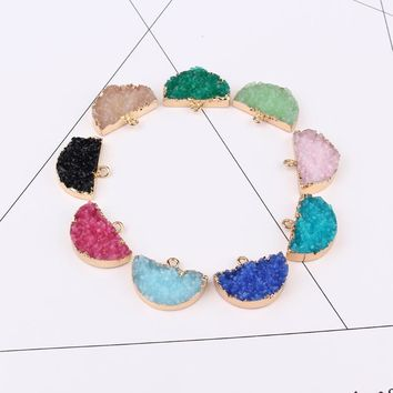 2pc Semicircle Irregular Resin Stone Fake Druzy Earrings Drops Base Charm Long Ear Studs Connectors Necklace Diy Making Findings
