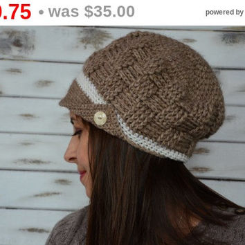 BlackFridaySale Crochet newsboy hat, alpaca wool hat, womans brown hat crochet, beanie hat brimmed, newsboy cap, slouchy newsboy hat, but...