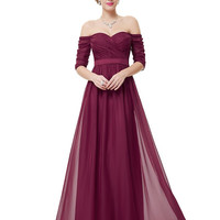 Bridesmaid Dresses Half Sleeve Long Red Prom  2017 New Style Fashion Women Wedding Party EP08411