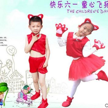 Halloween party cosplay children boy girl animal red fox costume set headband clothes shoes tail tutu skirt gloves for kid