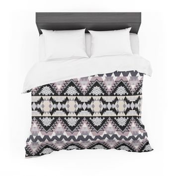"Victoria Krupp ""Nordic Ice"" Black Pastel Digital Featherweight Duvet Cover"