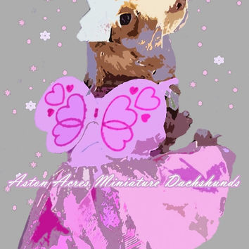 Dachshund Print Photography - Pink & Purple Wall Art  by AstonAcresDachshunds