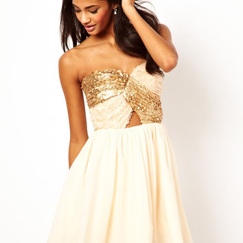Rare Opulence Sequin Cross Over Bust Dress