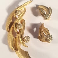 "Vintage Jewelry Set, Brooch And Matching Earrings, Marked ""BSK"", Vintage Jewelry, Mid-Century, 1950's"