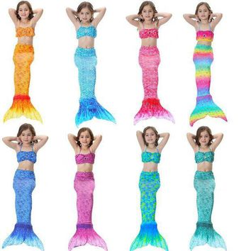 CREY6F 2017 Children Girls Mermaid Tail Costume Cosplay Color Baby Kid Mermaid Tails Bikini Swimming Mermaid Swimsuit Set M021