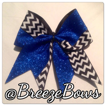 Royal Blue Glitter w/ Black & White Chevron Cheer Bow