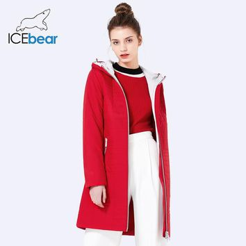 ICEbear Spring Long Cotton Women's Coats With Hood Fashion Ladies Padded Jacket Parkas For Women 17G292D
