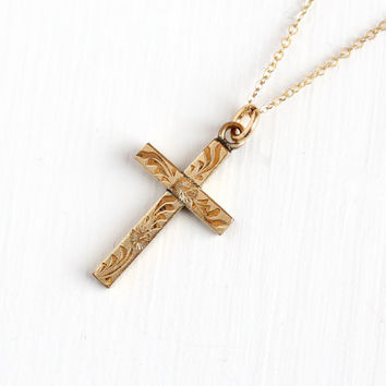 Vintage 10k Rosy Yellow Gold Filled Flower Cross Necklace - 1940s Crucifix Floral Engraved Pendant on Gold Filled Chain Religious Jewelry