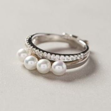 Quadruple Pearl Ring by Gold Philosophy Silver