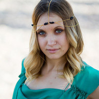 Gold Black Rock Bead Headdress, Head Chain, Head Piece, Hair Chain, Hair Jewelry, Chain Headband