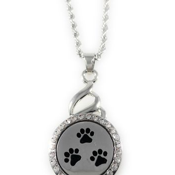"Snap Charm Pendant Aromatherapy Diffuser Locket 22mm PAW Includes 18"" Chain"
