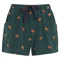 Fox print silk shorts