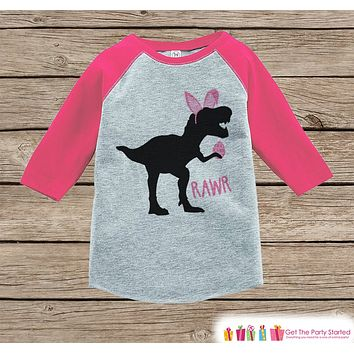 Girls Easter Outfit - Dinosaur Easter Shirt or Onepiece - Girls Easter Egg Hunt Shirt - Baby, Toddler, Youth - Pink Bunny Ears - Easter Egg