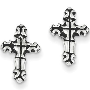925 Sterling Silver Antiqued Gothic Grid Cross Stud Earrings