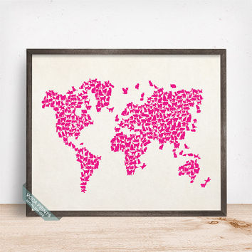 Cats World Map Print, Cat World Map, World Map Poster, 4, Animal Wall Art, Home Decor, Animal World Map, Nursery Decor, Halloween Print
