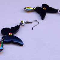 Black butterfly dangle long earrings with Swarovsi crystal Vitrail medium rainbow drops Long butterfly dangle drop  earrings