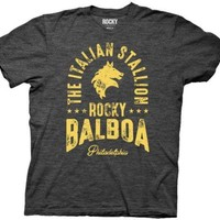 Rocky Italian Stallion Rocky Balboa Movie Heather Black Adult T Shirt