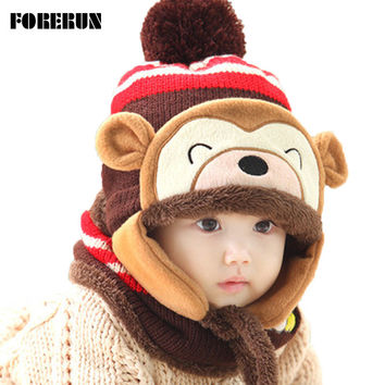 2016 Animal Hat Scarf Set Kids Monkey Cap Velvet Bonnet Bomber Hat Cute Winter Hat Knitted Caps Girls Warm Winter Hats for Boys