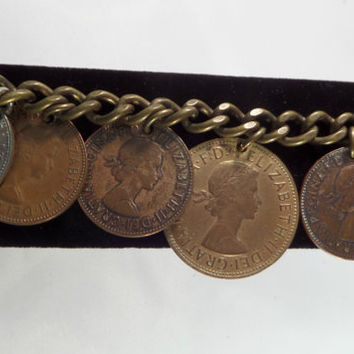 Foreign Coin Dangle Bracelet Copper Brass 1960s South African Coins Souvenir Charm