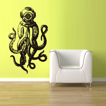 rvz1589 Wall Vinyl Sticker Decals Jellyfish Octopus Deep Fish Scuba Tentacles