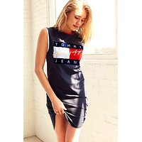 '' Tommy Hilfiger '' spring and summer new women's printing dress navy blue