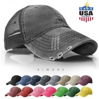 Mesh Trucker Hat Cotton Solid Washed Polo Style Baseball Cap Distressed Summer