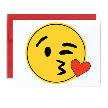 Kiss face emoji Valentine funny card - red yellow iPhone emoticon Valentines day simple greeting