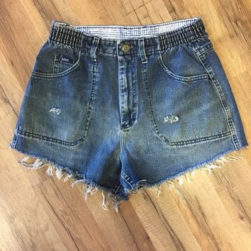 Blessed Wreckage Women's Hand Distressed Vintage High Waist Denim Shorts