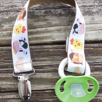 Farm Animals Ribbon, Brown Pacifier Holder, Binky Clip, Pacifier Clip or Toy Clip