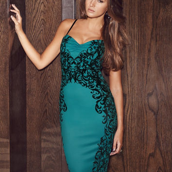 Sweetheart Neck Spaghetti Strap Bodycon Midi Dress