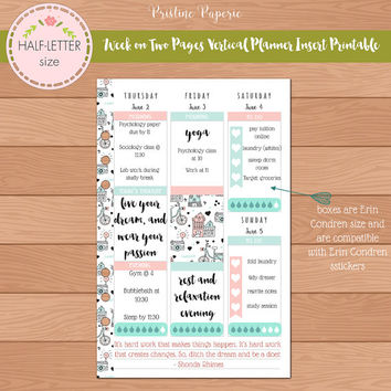 HALF-LETTER WO2P Vertical Erin Condren Size 2016 DATED Planner Insert Printable | Fits Kikki K Large & Filofax A5 Instant Download