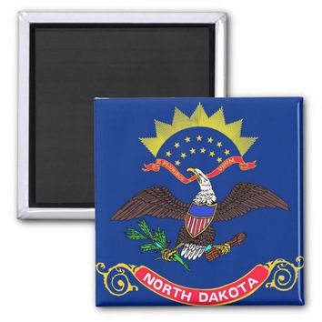 Magnet with Flag of North Dakota State - USA