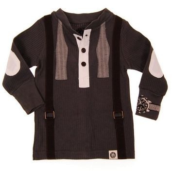 Bow Tie Suspenders Long Sleeve Baby Henley Shirt by: Mini Shatsu