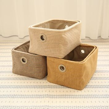 Cotton Linen Fabric Underwear Toys Storage Box Stripe Cosmetics Snacks Sundry  Storage Box Organizer 32x22x15CM