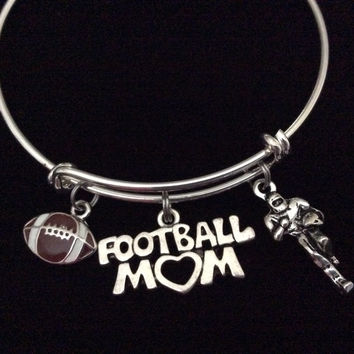 Football Mom Expandable Silver Charm Bracelet Adjustable Wire Bangle Handmade Gift Trendy Sports Team