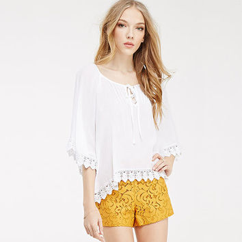 White Lace Hem Sleeve Loose Shirt